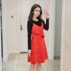 Set: Long-Sleeve Knit Top + Frill-Trim Suspender Mini Dress 1596