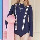 Long-Sleeve Lettering Swim Top + Swim Shorts 1596