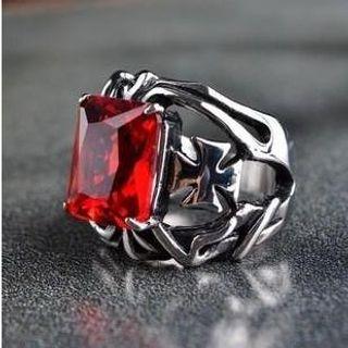 Titanium Steel Jewelled Ring