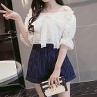 Set: Bow Off-Shoulder Top + Stripe Shorts от YesStyle.com INT