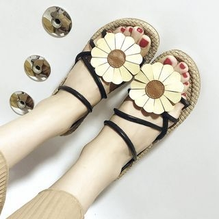 Faux-Leather Flower Straw Flat Sandals 1060447881