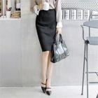Band-Waist Ribbed Pencil Skirt 1596