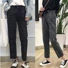 Plaid Straight-Fit Harem Pants 1596