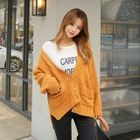 V-Neck Drop-Shoulder Buttoned Cardigan 1596