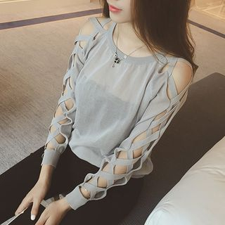Image of Lace Up Long-Sleeve Knit Sweater
