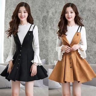 Set: Bell-Sleeve Top + A-Line Pinafore Dress 1063135315
