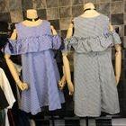 Cutout Shoulder Ruffle Gingham A-Line Dress 1596