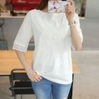 Elbow-Sleeve Lace-Trim Top 1596