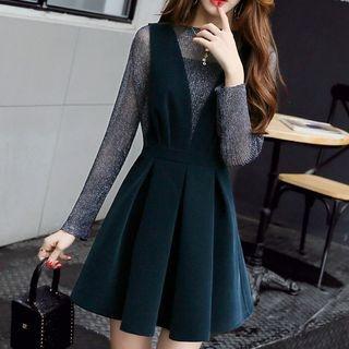 Set: Glittered Long-Sleeve Top + A-Line Pinafore Dress 1061036212
