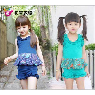 Kids Set: Frilled Print Top + Shorts 1042542684