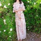 Printed Off-Shoulder Maxi Chiffon Dress 1596