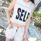 Set: Lettering Cropped Sleeveless Top + Denim Shorts 1596