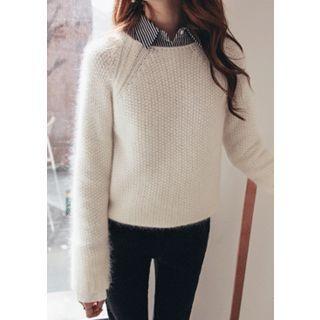 Raglan-Sleeve Wool Blend Knit Top 1054163775