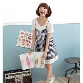 Buy OrangeBear Set: Short-Sleeve T-Shirt + Check Sundress 1023052479
