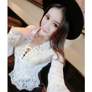 Lace Up Long-Sleeve Lace Top 1057614669