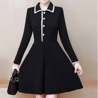 Image of Collared Long-Sleeve Mini A-Line Dress