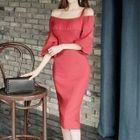 Off-shoulder Elbow-Sleeve Dress 1596