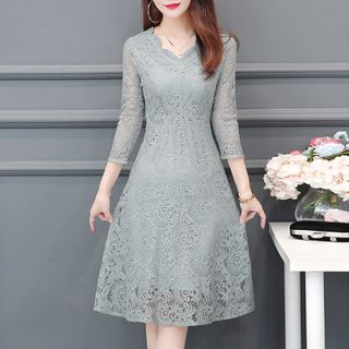 Image of 3/4-Sleeve Midi A-Line Lace Dress