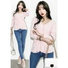 V-Neck Layered Button Cardigan 1596