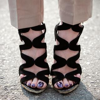 Picture of AKA Strap Detail Platform Sandals 1022766967 (Sandals, AKA Shoes, Korea Shoes, Womens Shoes, Womens Sandals)