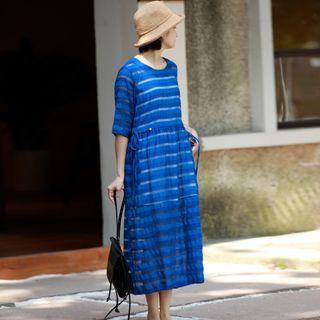 Sapphire   Stripe   Dress   Blue   Size   One