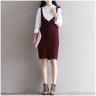 Grommet Ribbed Knit Dress 1061251868