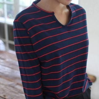 Product Image of Long-Sleeve Notched-Neck Striped T-Shirt
