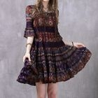 Patterned Elbow Sleeve Chiffon Dress 1596