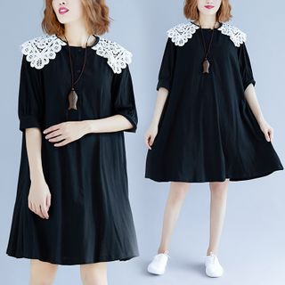 Short-sleeve | Babydoll | Collar | Black | Dress | Lace | Size | One