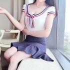 Striped Bow Accent Short Sleeve Ruffle Hem Dress 1596
