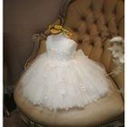 Kids Sleeveless Applique Flare Tulle Dress 1596