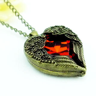 The Heart in Angel Wings Necklace Copper  One Size