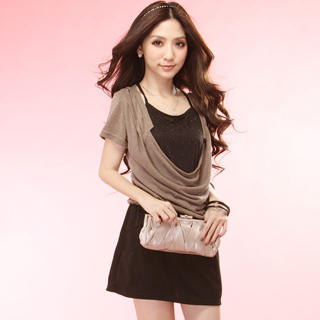 Buy Tokyo Fashion Inset Studded Front Cowl-Neck Dress 1022996111