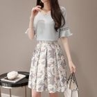 Set: Perforated Elbow Sleeve Top + Floral Print A-Line Skirt 1596
