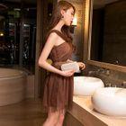 Sleeveless Tulle Mini Dress 1596