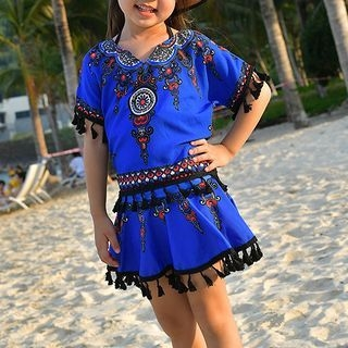 Kids Set: Patterned Tankini Top + Swimskirt + Cover-Up 1064978034