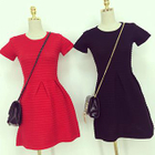 Ribbed Short-Sleeve Knit Dress 1596