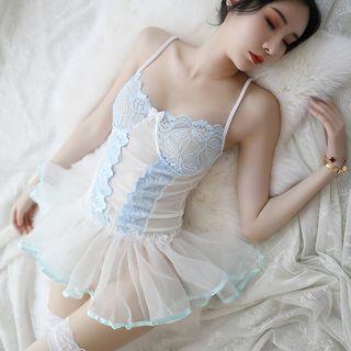 Babydoll | Corset | Light | Veil | Blue | Lace | Size | One | Set