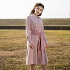 Long-Sleeve Striped Tie-Waist Dress 1596