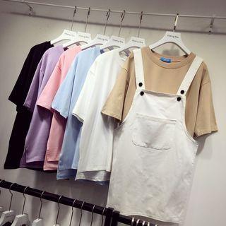 Plain Loose-Fit Short-Sleeve Top 1050776356