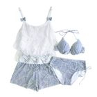 Set: Printed Bikini + Lace Panel Cover-Up 1596