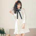 Long-Sleeve Cutout Shoulder Dress 1596
