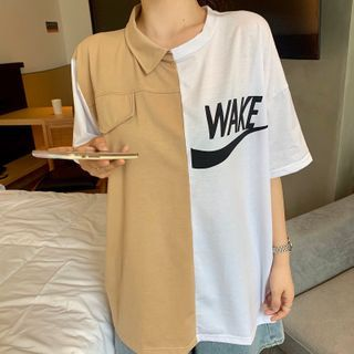 Image of Asymmetric Panel Two-Tone Short-Sleeve T-Shirt