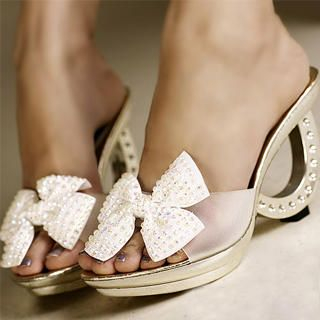 "Buy Kvoll Rhinestone ""Bow"" Semi-Opaque Mules 1023070600"