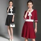 Elbow-Sleeve Bow Tie-Waist A-Line Sheath V-Neck Slim Dress 1596