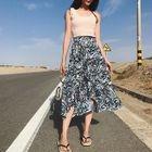 Asymmetrical Patterned Midi Chiffon Skirt 1596