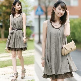 Buy Soegirl Sleeveless Layered Hem A-Line Dress 1022902230