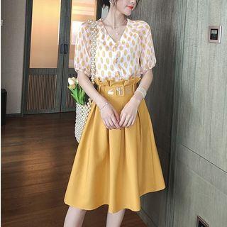 High-waist   Blouse   Polka   Skirt   Dot