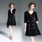 Double-Breasted Elbow-Sleeve A-Line Dress 1596