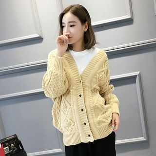 Ribbed V-neck Cardigan 1064384460